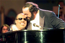 STEVE WONDER AND PAVAROTTI Luciano Pavarotti and his Friends, an organization created to help and support carity organizations around the world, a big concert every summer in Modena Italy with Brian May from Queen, Steve Wonder, George Michael, Zucchero, Laura Pausini, Lady Diana as special guest, The Spice girls, Andrea Bocelli, Bono from U2, Liza Minelli, and an incredible list of international guest coming to help childrens as Luciano's Friends